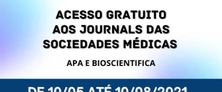 """Na parte superior as logos da AssociaçãoAmericanadePsiquiatria (APA) e  da Bioscientifica. Escrita informativa: """"Acesso gratuito aos Journals das Sociedades Médicas: APA e Bioscientifica de 10/05 até 10/08/2021"""". Abaixo as logos da UFU e SISBI."""